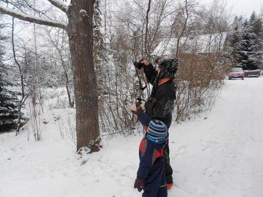 Robin tarkastelee tässä puiden latvoja äitinsä Sari Ramulan kanssa.