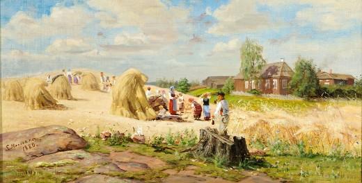 """Elias Muukka """"Pappilan ruispellolla"""" 1880, öljy kankaalla,  34 x 65."""