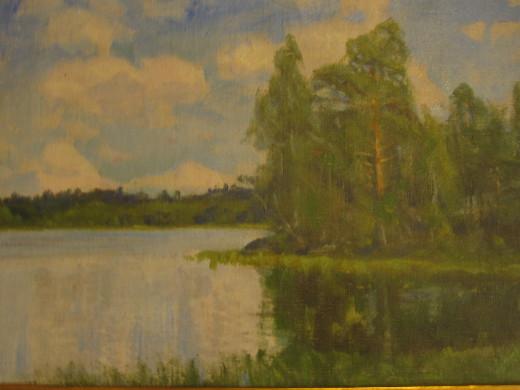 Onkohan maisema Lemiltä, Lahna tai Kivijärven rannalta?   Tervetuloa katsastamaan taulua ja tunnistamaan maisemaa.