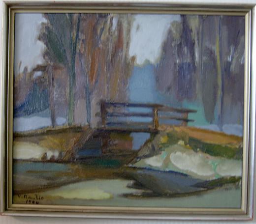 Väinö Rautio: Paimensaaren silta, 1944. Taiteilijan teoksia on esillä Art Paimensaaressa vielä tämän viikon ajan.