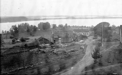 Uuden Yhtymän rakennustarpeita Lemin kirkonmäellä 1938. Kuva Anton Taipale.