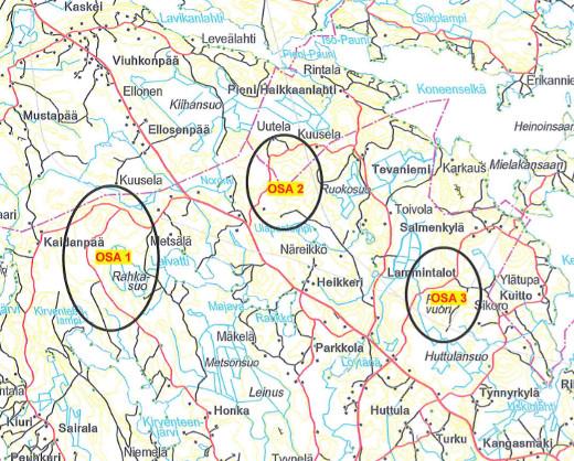 Tuuliturbiinit pystytettäisiin kolmelle eri alueelle. Kuva Lemin kunta/Antti Hirvikallio.