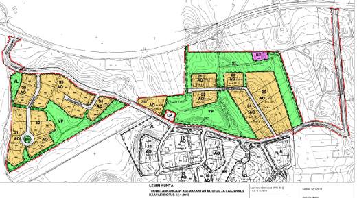 Uudet tontit ovat vasemmalla, jo olemassa olevat ylhäällä oikealla. Ote Lemin kunnan kaavakartasta.