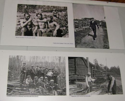 Lemin miehet ovat Taipaleen kuvissa vapaalla ja työn touhussa.