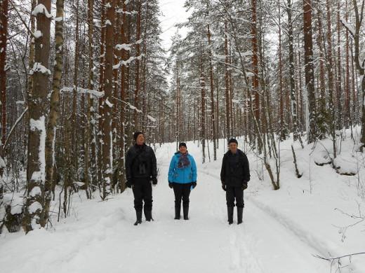 Tässä kuljetaan osittain auraamatonta pätkää Mikontiellä, paikalla, jossa ennen oli metson hakomapuu. Kuvassa
