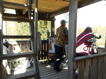 Alatasanteella tarvittiin toppatakkia. Takkeihin pukeutuneina Mirja Vaartaja Savitaipaleelta, Ossi ja Mervi Kääriä Kouvolasta sekä joukkueen johtaja Sirkka-Liisa Mäntyperältä.