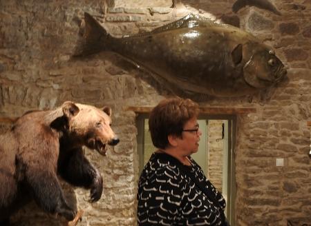 Kartanon yhteydessä toimii metsästysmuseo. Päivi Pokkisen takana karhu, yläpuolella Norjan vesiltä pyydetty kampelansukuinen kala.