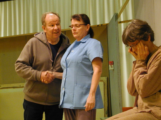 Näytelmä kertoo vanhainkodin arjesta. Näyttämöllä nähdään muiden muassa Markku Peutere, ... ja Leena Uski.