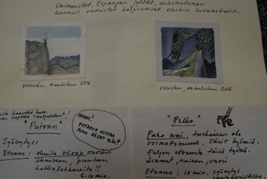Näyttelyssä esillä olevassa työkirjassa Marja Matikainen kertoo töittensä synnystä kuvin ja sanoin.