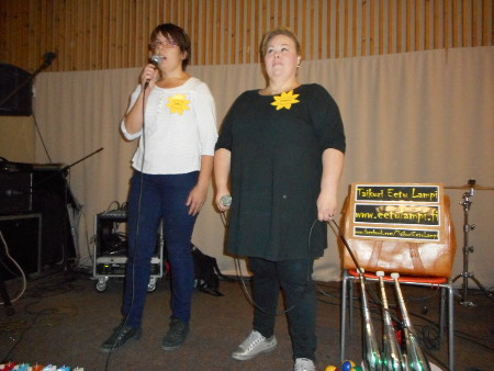 Avauspuheen pitivät juhlan organisaattorit Sari Lind (vas.) ja Niina Orre.