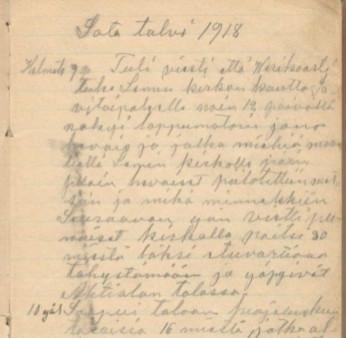 Sivu Antti Okon päiväkirjasta.