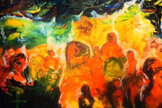 """""""Nimetön"""" on yksi Satu Haikon vahvavärisistä öljyvärimaalauksista. Kuvassa osa teoksesta."""