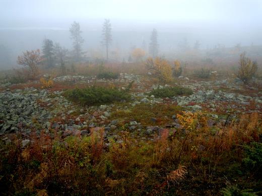 Syyskuussa tulivat sateet. Tämä usvainen näkymä on Leviltä syyskuun  toiselta viikolta.