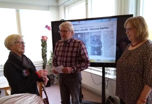 Pirkko Eteläpää (vas.), Raimo Laari ja Eija Karine, Kuva Paula Häkkinen.