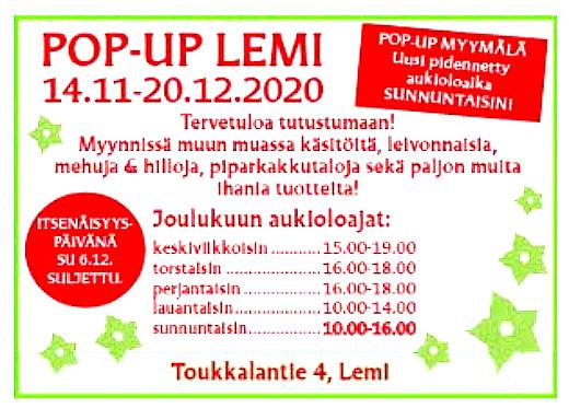 Myymälä on avoinna joulukuun 20. päivään saakka,