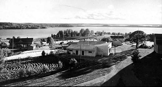 Lemin kirkonmäki 1940-luvilla. Koulumänty vielä pystyssä,