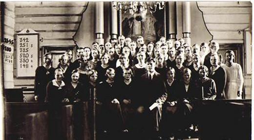 Lemin kirkkokuoro 6.5.1934. Edessä keskellä dit.cant Jaakko Pyrhönen.
