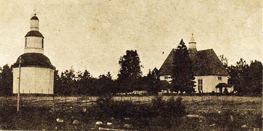 Venäjän vallan aikaan vuonna 1900 Lemin alkuperäinen kellotapuli ja kirkko vuonna 1900. Lemin seurakuntakin oli vielä itsenäinen.